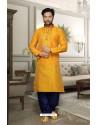 Yellow Banglori Silk Kurta Pajama