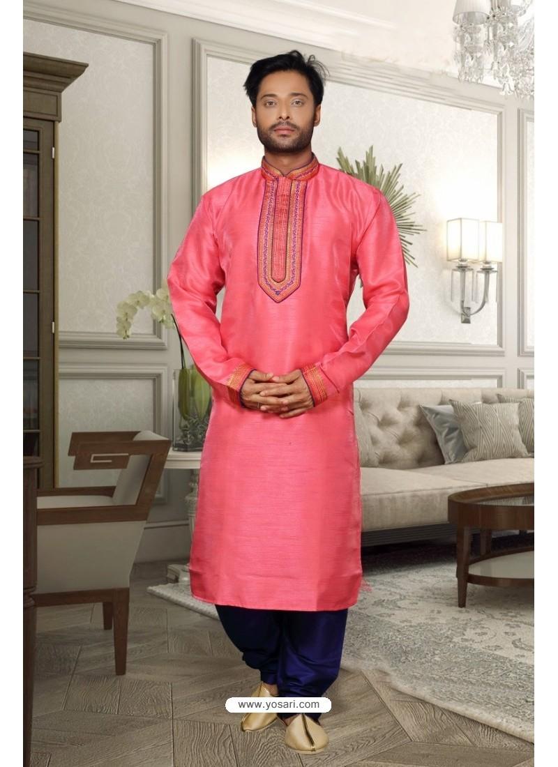 Peach Banglori Silk Kurta Pajama