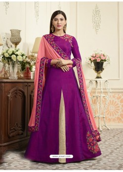 Purple Raw Silk Designer Embroidered Floor Length Suit
