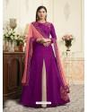 Purple Raw Silk Designer Embroidered Floor Length Suit