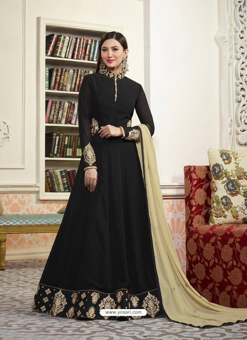 Black Georgette Embroidered Floor Length Suit