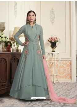 Gorgeous Dull Grey Embroidered Georgette Suit