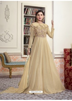 Beige Jacquard Embroidered Floor Length Suit