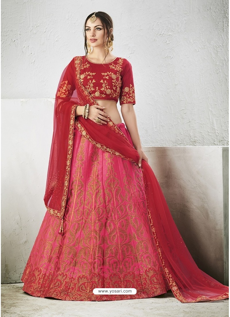 Pink Embroidered Jacquard Silk Lehenga Choli