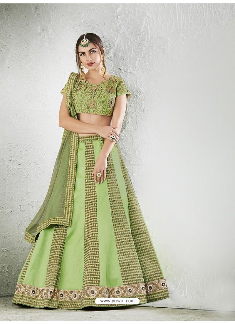 Green Embroidered Jacquard Silk Lehenga Choli