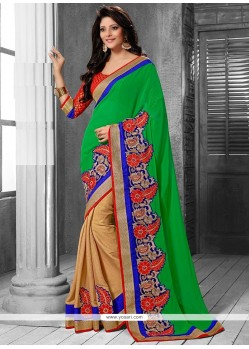 Amazing Beige And Green Art Silk Half And Half Saree