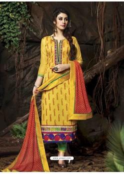 Mustard Chanderi Silk Salwar Kameez