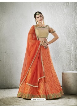Orange Embroidered Work Lehenga Choli
