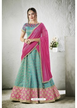 Sky Blue Embroidered Jacquard Silk Lehenga Choli