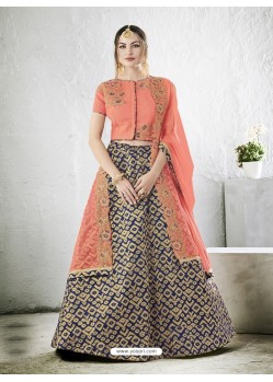 Peach Embroidered Jacquard Silk Lehenga Choli