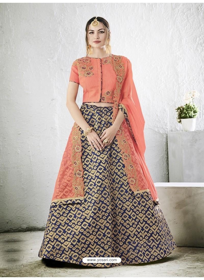 Peach Embroidered Jacquard Silk Lehenga Choli