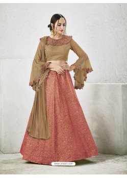 Brown Embroidered Jacquard Silk Lehenga Choli