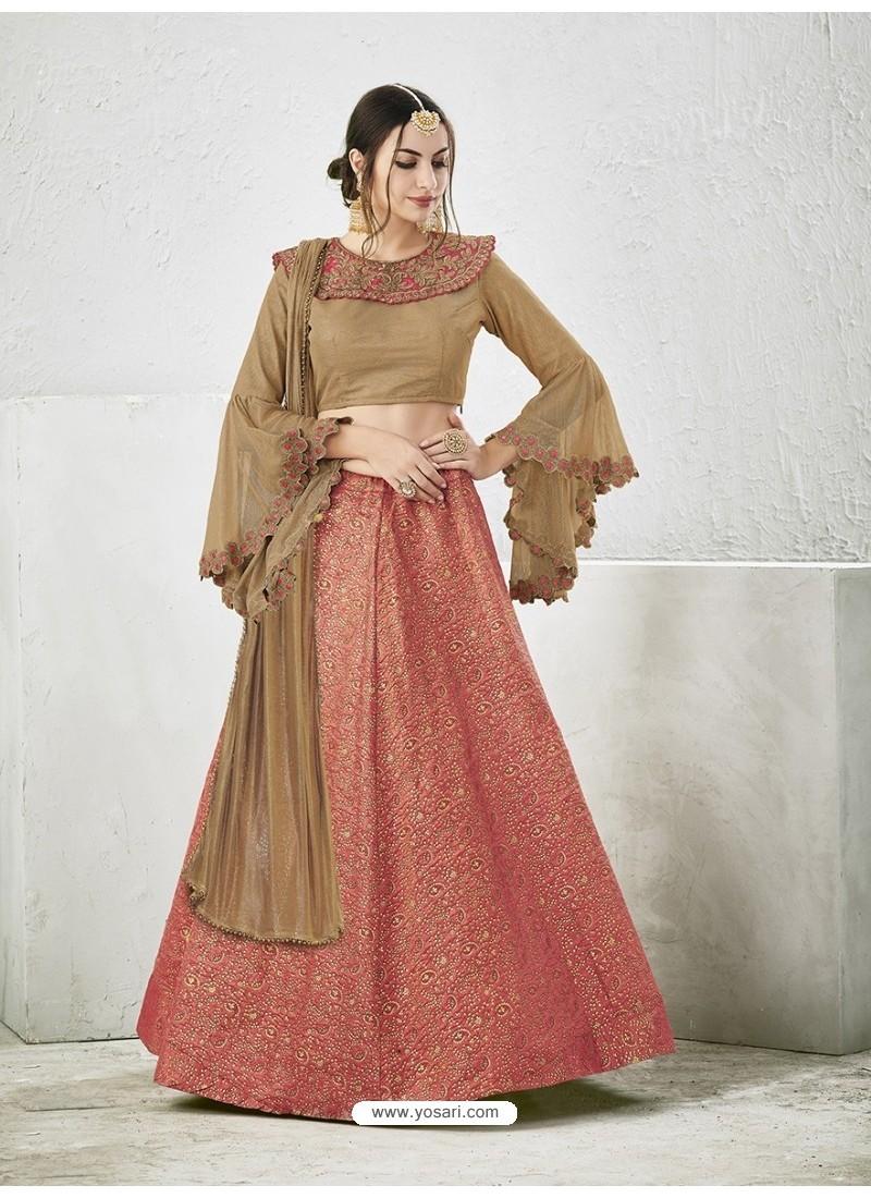 Brown Embroidered Jacquard Silk Lehenga Choli