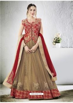 Beige Embroidered Jacquard Silk Lehenga Choli