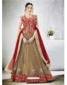 Beige Embroidered Jacquard Silk Lehenga Choli
