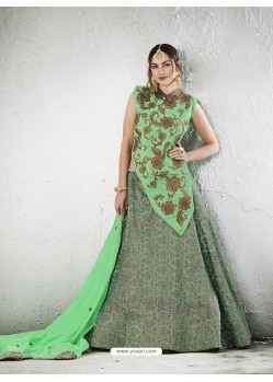 Sea Green Embroidered Jacquard Silk Lehenga Choli