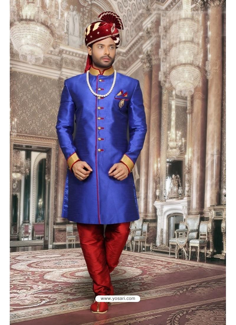 Incredible Royal Blue Dupion Sherwani