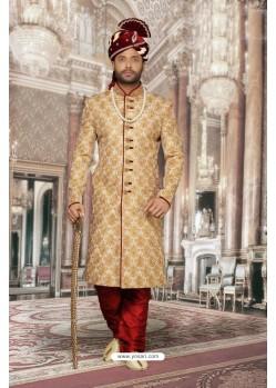Magnificent Beige Jacquard Sherwani