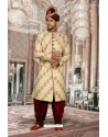 Fabulous Beige Jacquard Sherwani