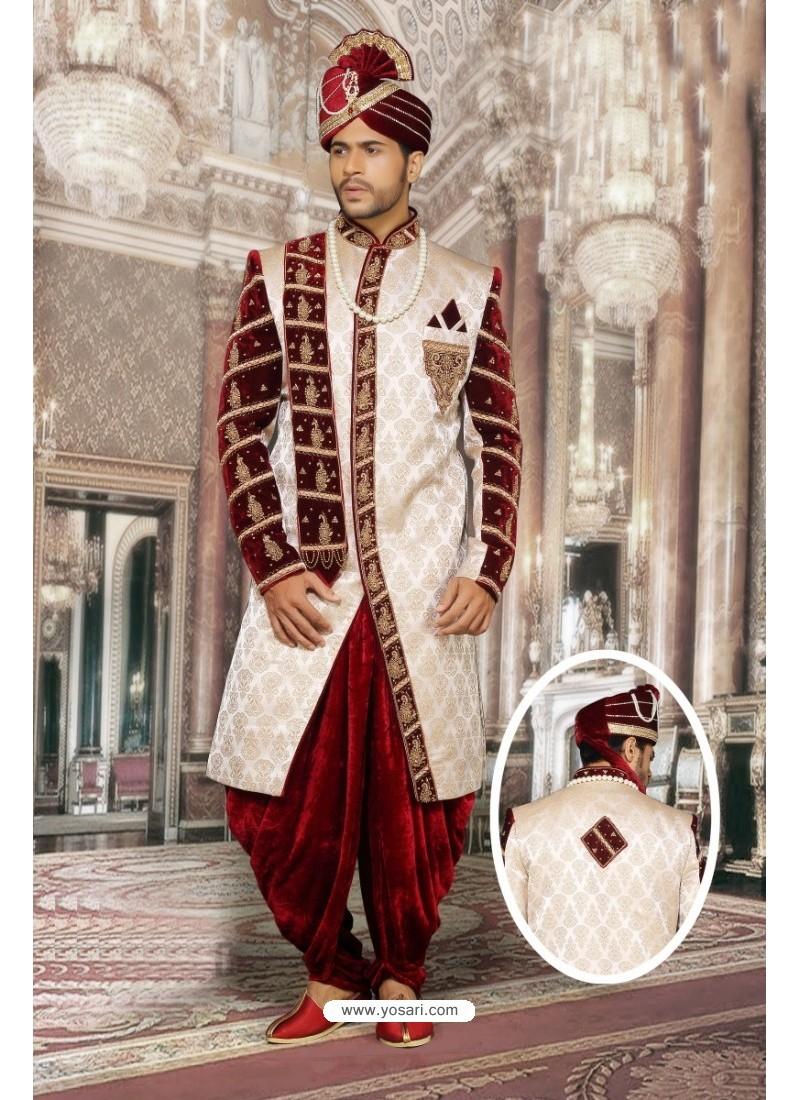 Dazzling Off White Jacquard Sherwani