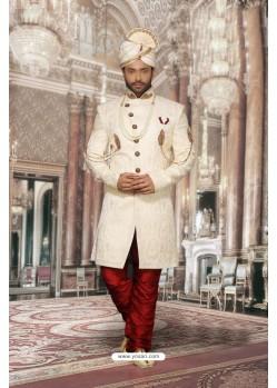 Astonishing Off White Jacquard Sherwani