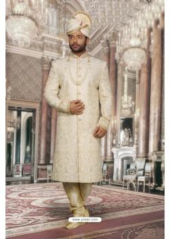 Trendy Cream Net Sherwani