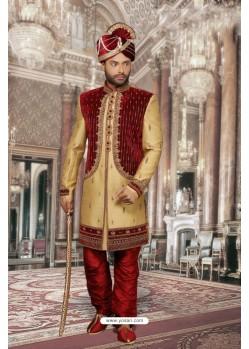 Desirable Golden Jharna Sherwani