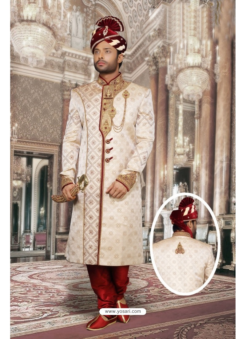 Excellent Cream Jacquard Sherwani