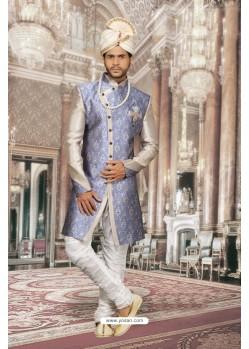 Desirable Blue Print Sherwani