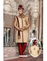 Phenomenal Beige Jacquard Sherwani