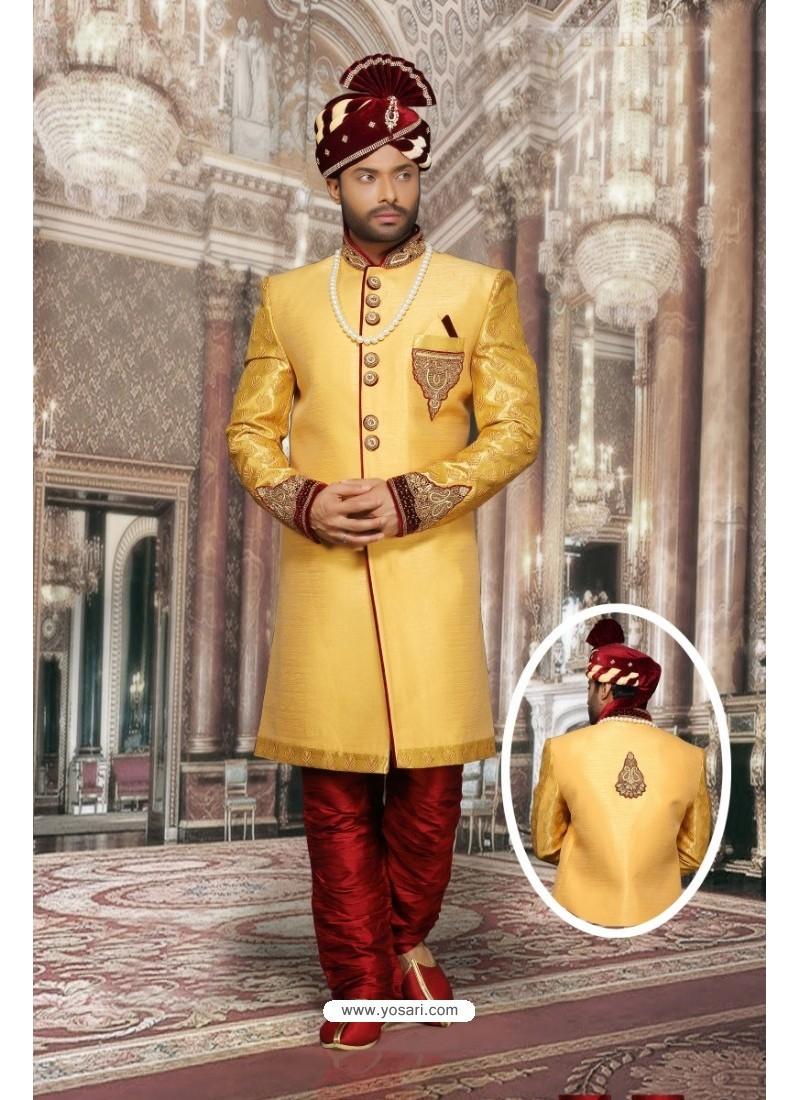 Markable Yellow Jharna Sherwani