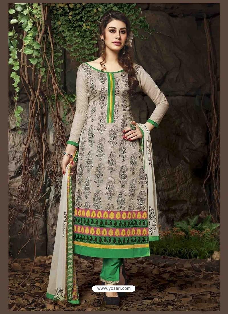 Cream And Green Chanderi Silk Salwar Kameez