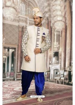 Affectionate Off White Print Jacquard Sherwani