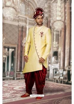 Splendid Yellow Jharna Sherwani