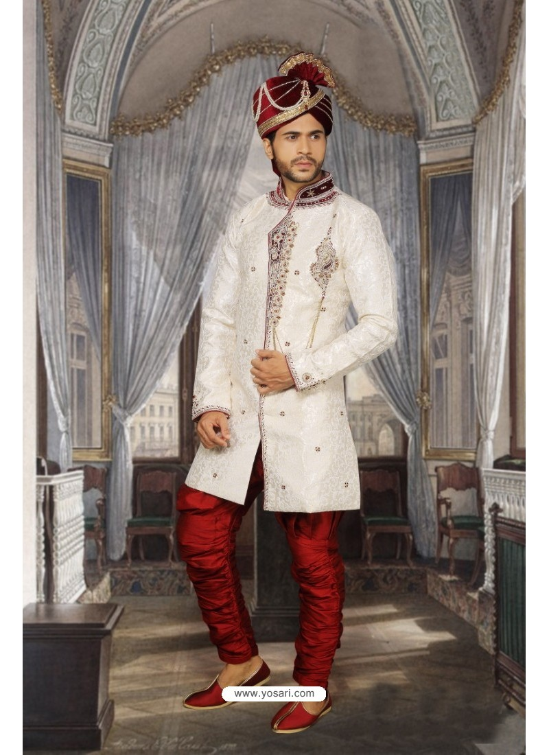 Fab Off White Sherwani