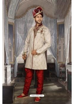 Glorious Off White Jacquard Sherwani