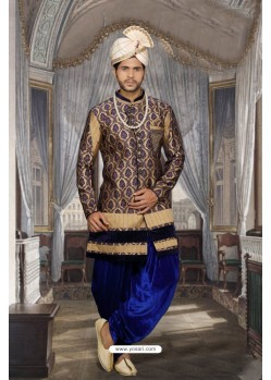 Lovely Beige Jacquard Sherwani