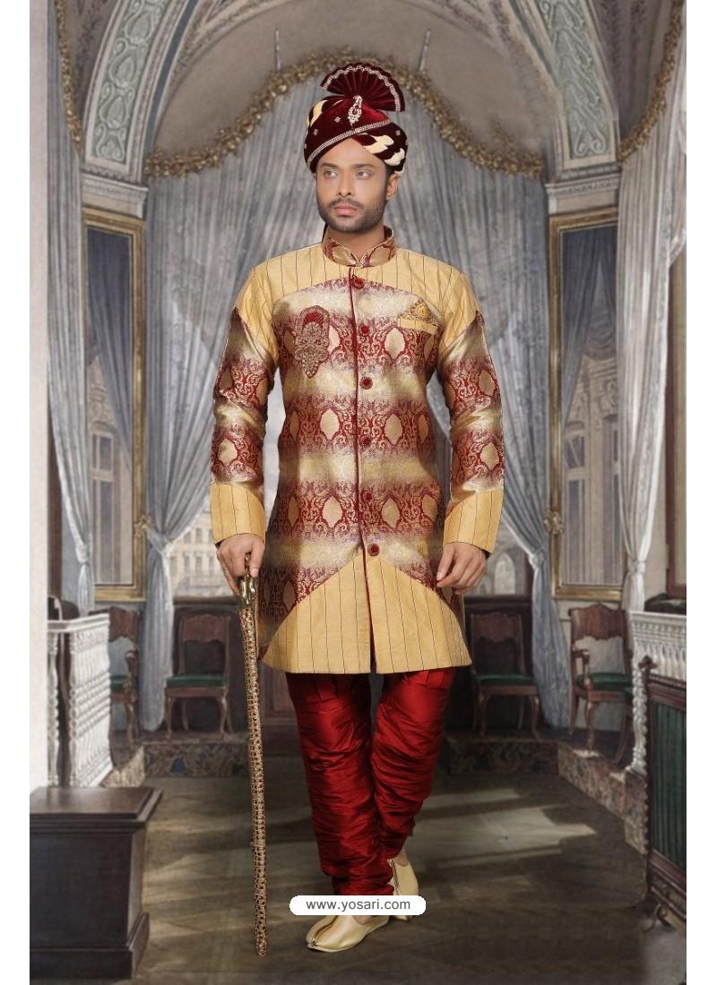 Fashionistic Beige Jacquard Sherwani
