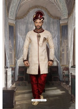 Magical Off White Jacquard Sherwani