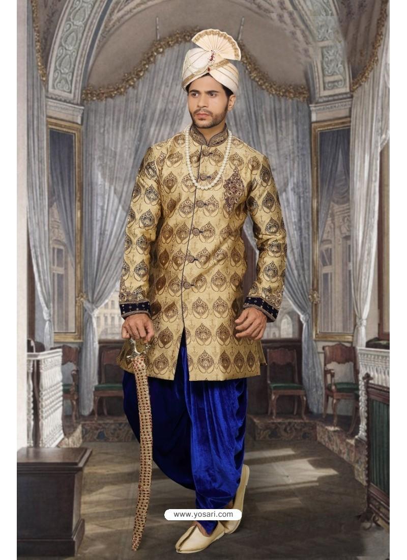 Lustrous Beige Imported Sherwani