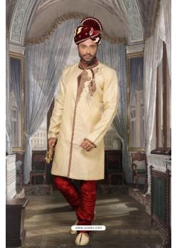 Superb Designer Beige Sherwani