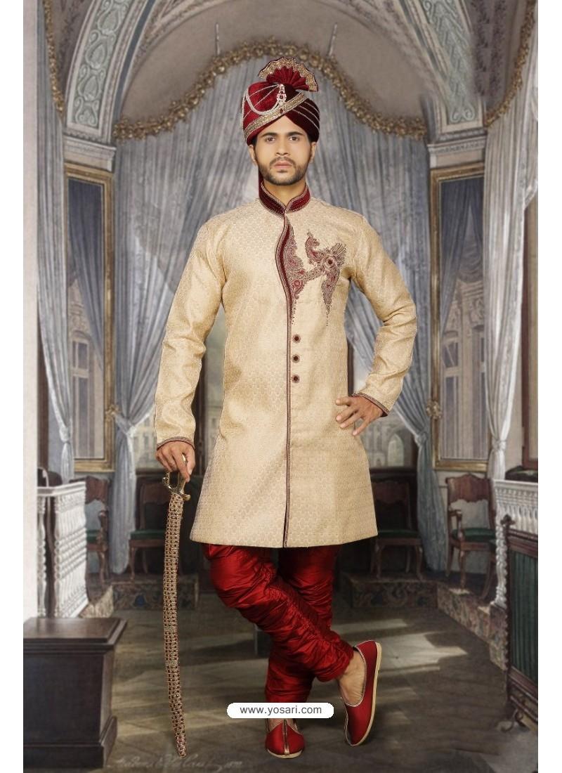 Stylish Beige Designer Sherwani