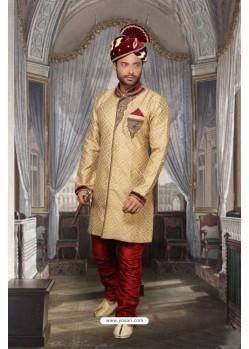 Luxurious Beige Jacquard Sherwani