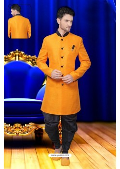Fashionistic Orange Silk Sherwani