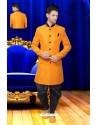 Fashionistic Orange Silk Sherwani