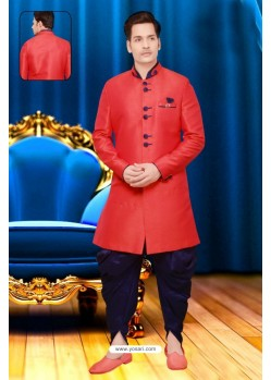 Modish Red Silk Sherwani
