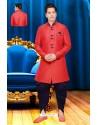 Modish Red Silk Sherwani