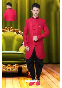 Affectionate Red Silk Sherwani