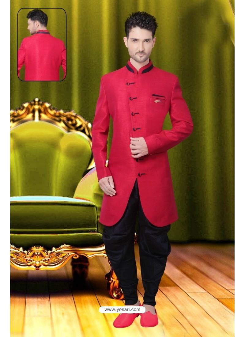 Affectionate Red Silk Sherwani