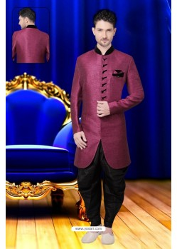 Adorable Deep Wine Jute Sherwani
